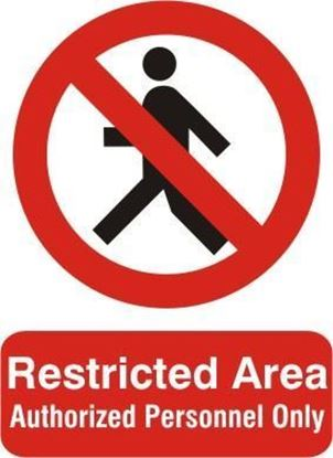 Picture of RESTRICTED AREA-AUTHORIZED PERSONNEL ONLY   20x15