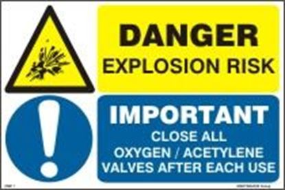 Picture of DANGER EXPLOSION RISK - CLOSE OXYGEN/ACETYLENE 20x30
