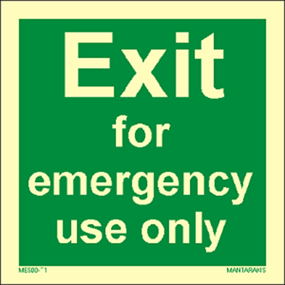 Picture of Text Exit for emergency use only 15 x 15