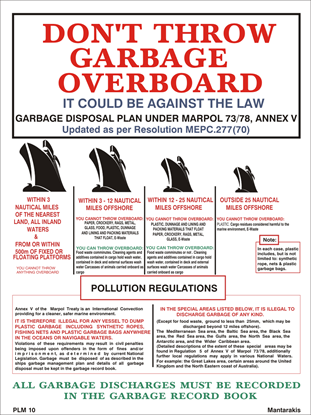 Picture of DON'T THROW GARBAGE OVERBOARD POSTER 27X20