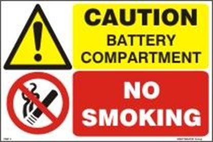 Εικόνα της CAUTION BATTERY COMPARTMENT-NO SMOKING 20x30